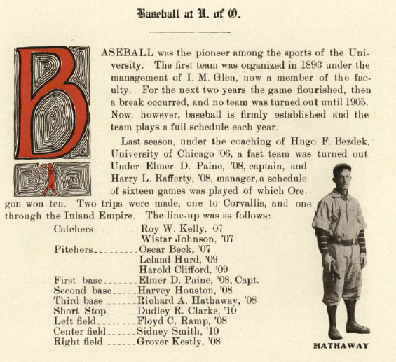 Recap of 1907-08 UO baseball.  From the 1909 Beaver (UO Yearbook).  www.CampusAttic.com