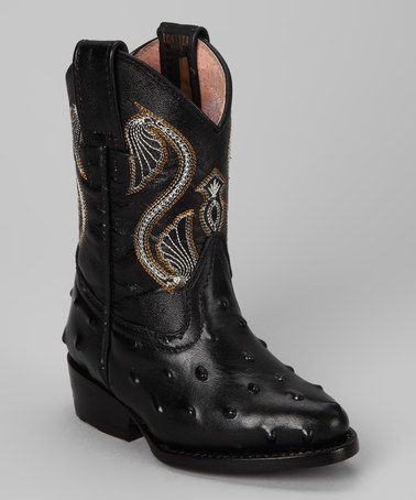 851f33bf1370b Take a look at this Black Avestruz Boot - Kids by Bonanza Boots on ...