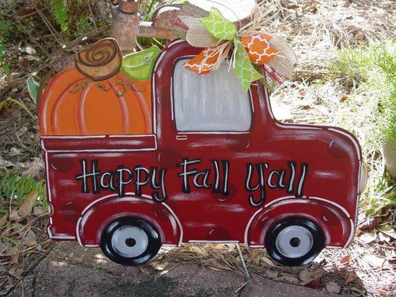 Fun Fall Truck Door Hanger Wood Pumpkin Door Hanger Halloween - decorate your car for halloween