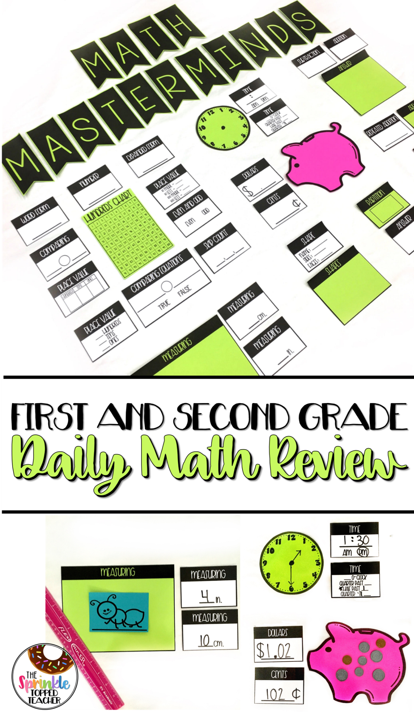 Math Masterminds Calendar and Math Warm Up Bulletin Board Set ...