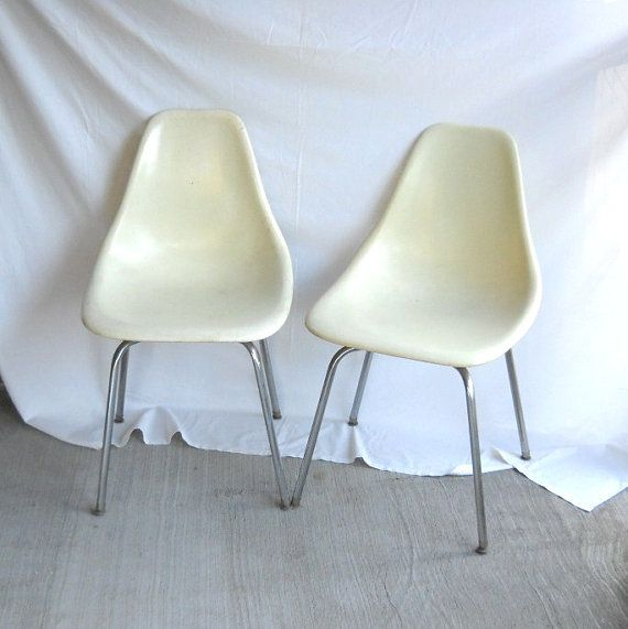 Vintage Fiberglass Chairs Eames Era Shell Chair Plastic Chair Bowling Alley  Scoop Mid Century Modern Decor