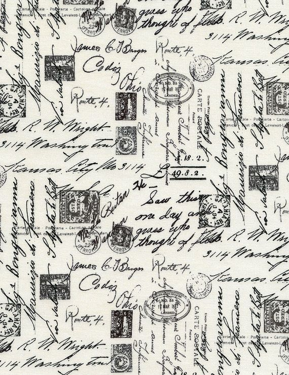 Script writing cotton fabric by Timeless Treasures C1904