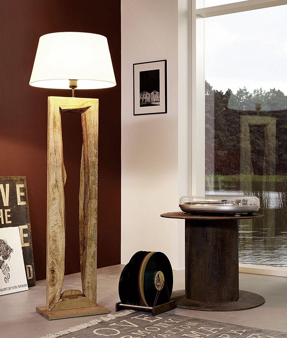 Rustic Driftwood Wooden Floor Lamp With Shade Abajur De Madeira