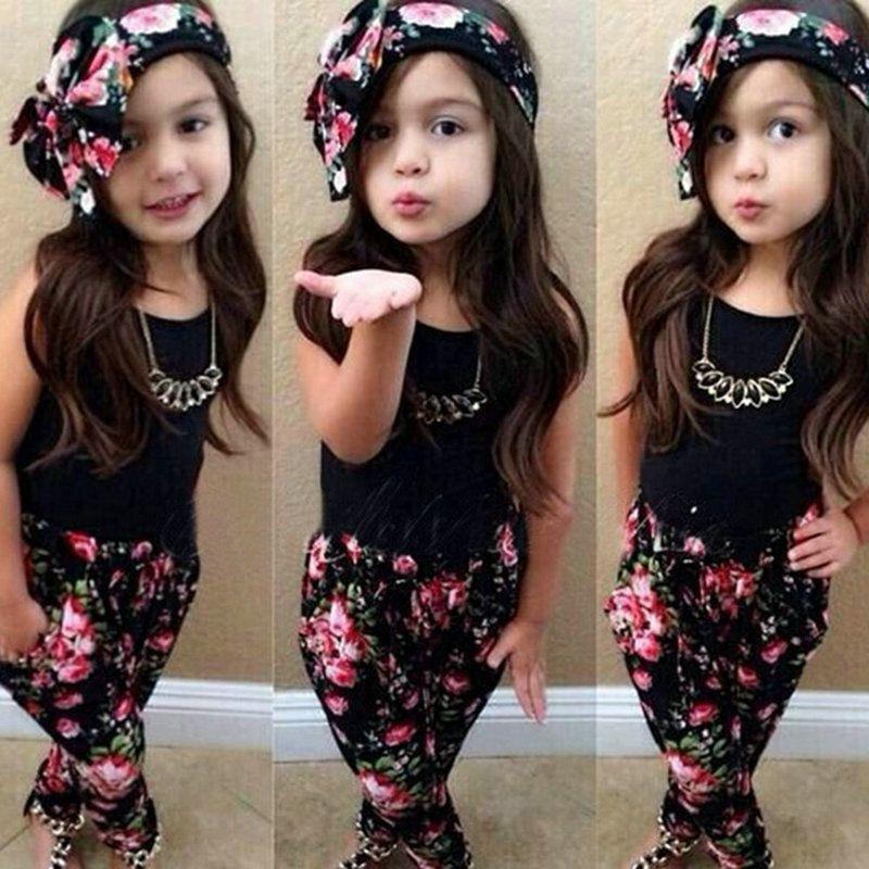 3PCS Hot Newborn Baby Girl Clothes Floral T Shirt+Pants+Headband Outfits Set