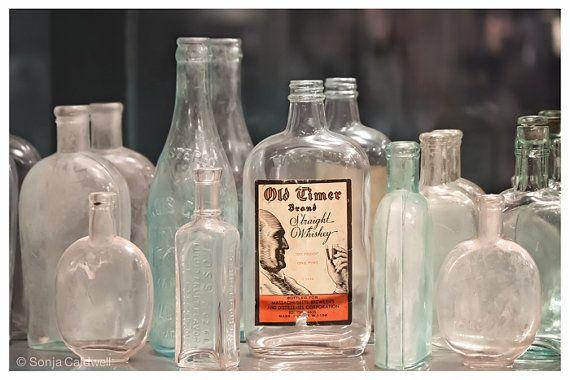 Antique Prohibition Era Bottles Teal Kitchen Decor