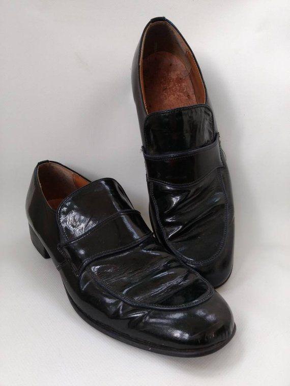 6e288880cb1e5 Mens Vintage Dress Shoes Black Slip On Size 11 D Shiny Patent ...