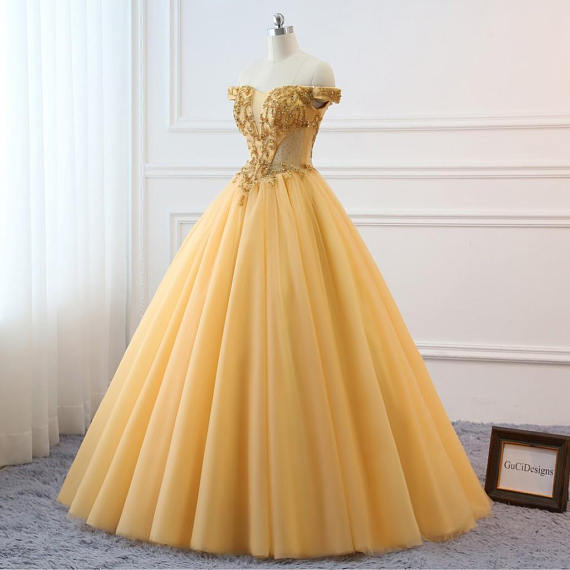 9cbd03498ac7 2018 Gold Prom Ball Gown Beaded Off Shoulder Quinceanera Dress Tulle  Masquerade Prom Dress Wedding B