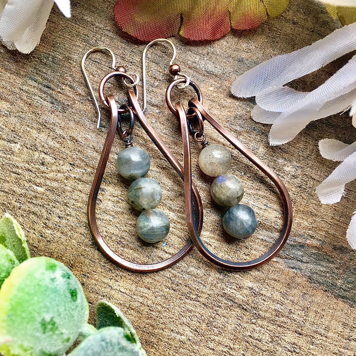Nature Earrings Jade and Pearl Earrings Antiqued Copper Earrings Jade Earrings Boho Earrings Gemstone Earrings