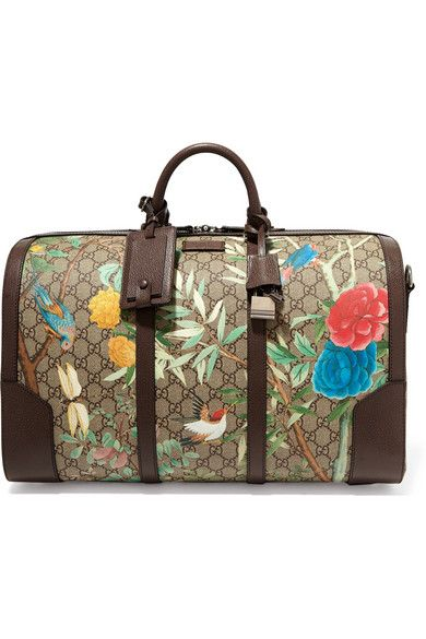 Gucci Linea A Textured Leather Trimmed Printed Coated Canvas Weekend Bag Net Porter Com