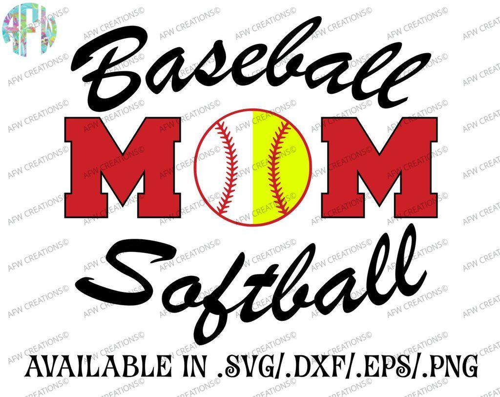Baseball Softball Mom Combo SVG, DXF, EPS Softball