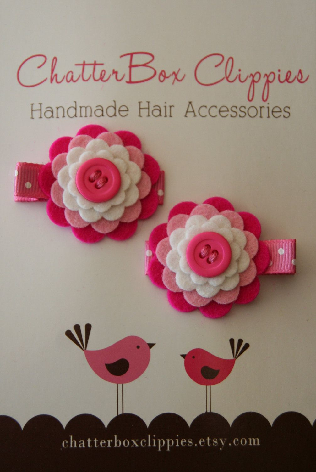Items similar to Baby Hair Clips in Wool Felt Pink and White Toddler Hair Clip Girls Hair Clip on Etsy