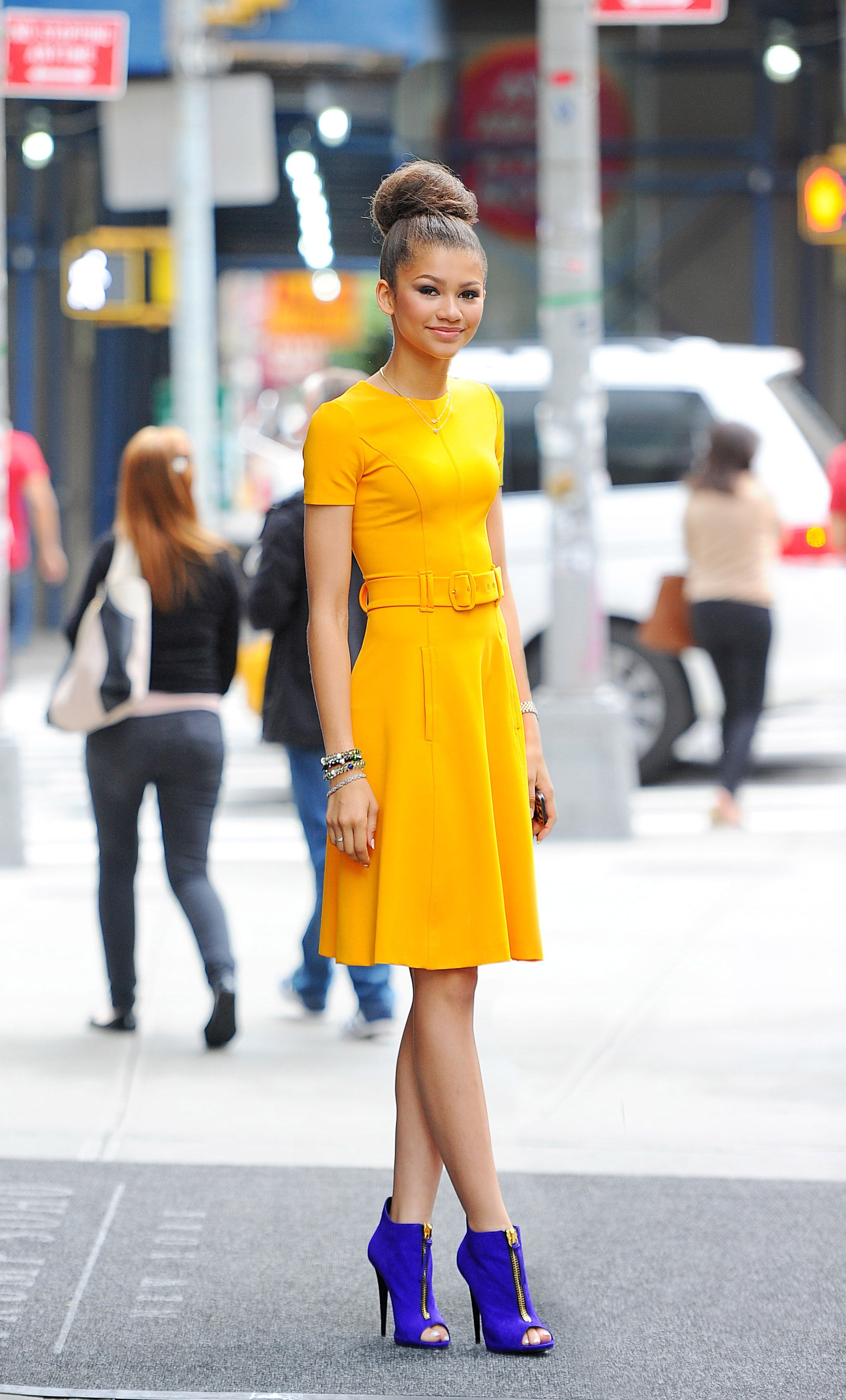 Mustard yellow dress with bright blue shoes