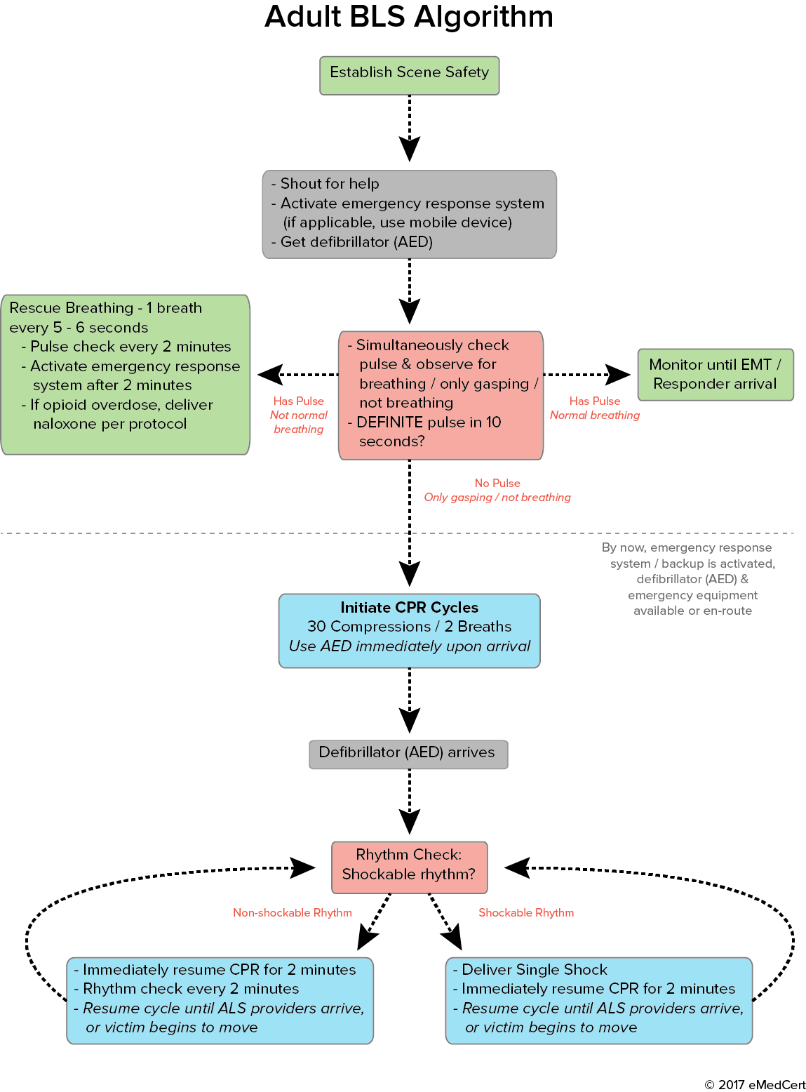 Acls algorithms adult bls algorithm emedcert bshong pinterest heres every acls algorithm you need to be familiar with in order to pass your exam xflitez Images