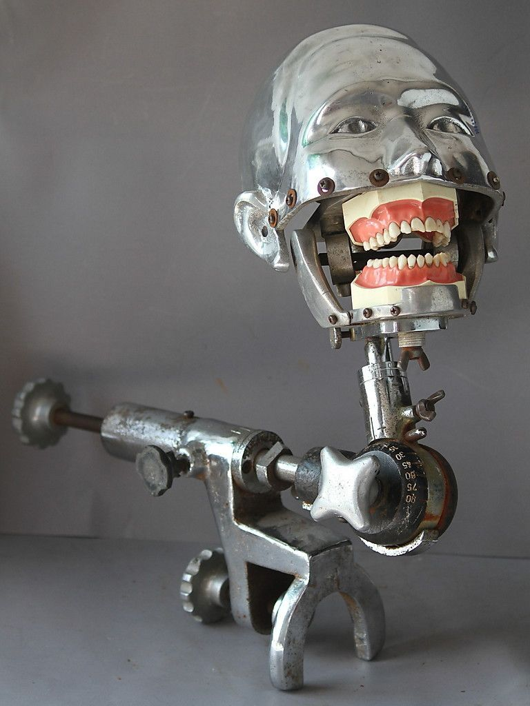 "My new favorite guy ~ vintage 1940/50's dental mannequin ""robot"" for teaching"
