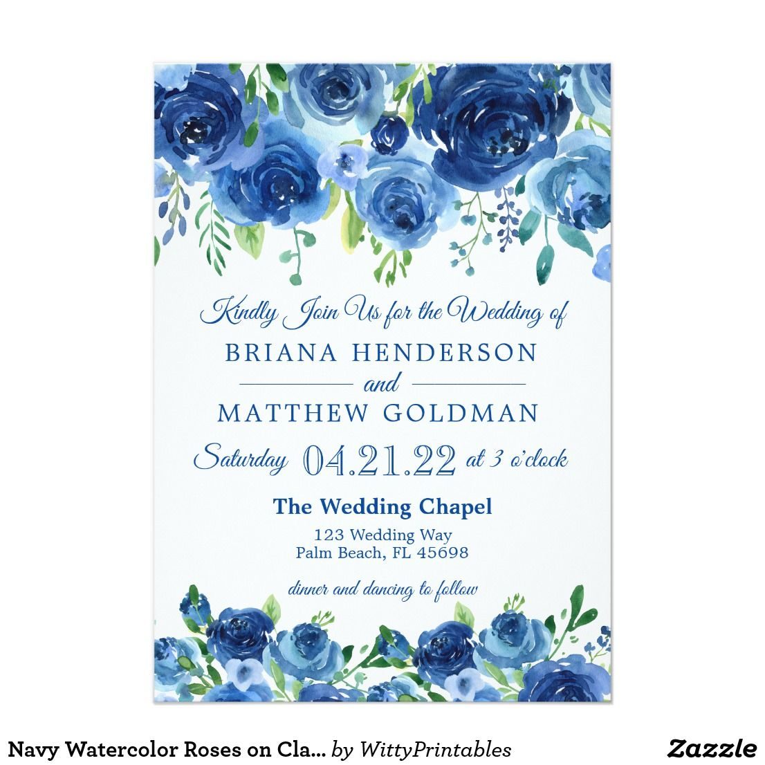 Small Ceremony Big Reception Invitations: Navy Watercolor Roses On Classic White Wedding Invitation