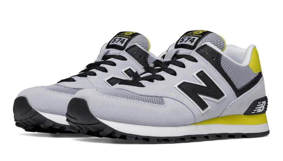 574 New Balance, Light Grey with Limeade & Black