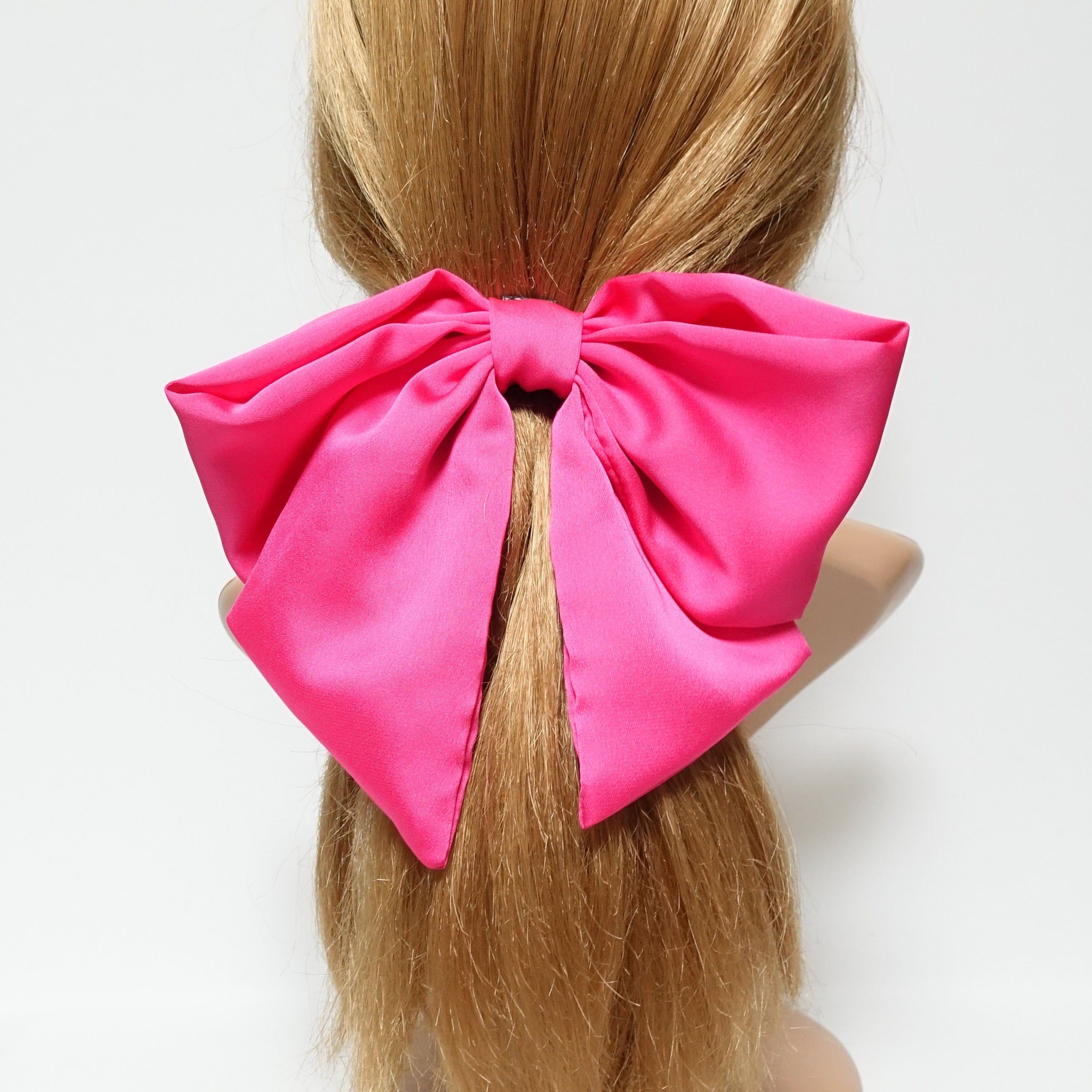 chiffon vertical stripe dot pattern hair bow with long tail french barrette