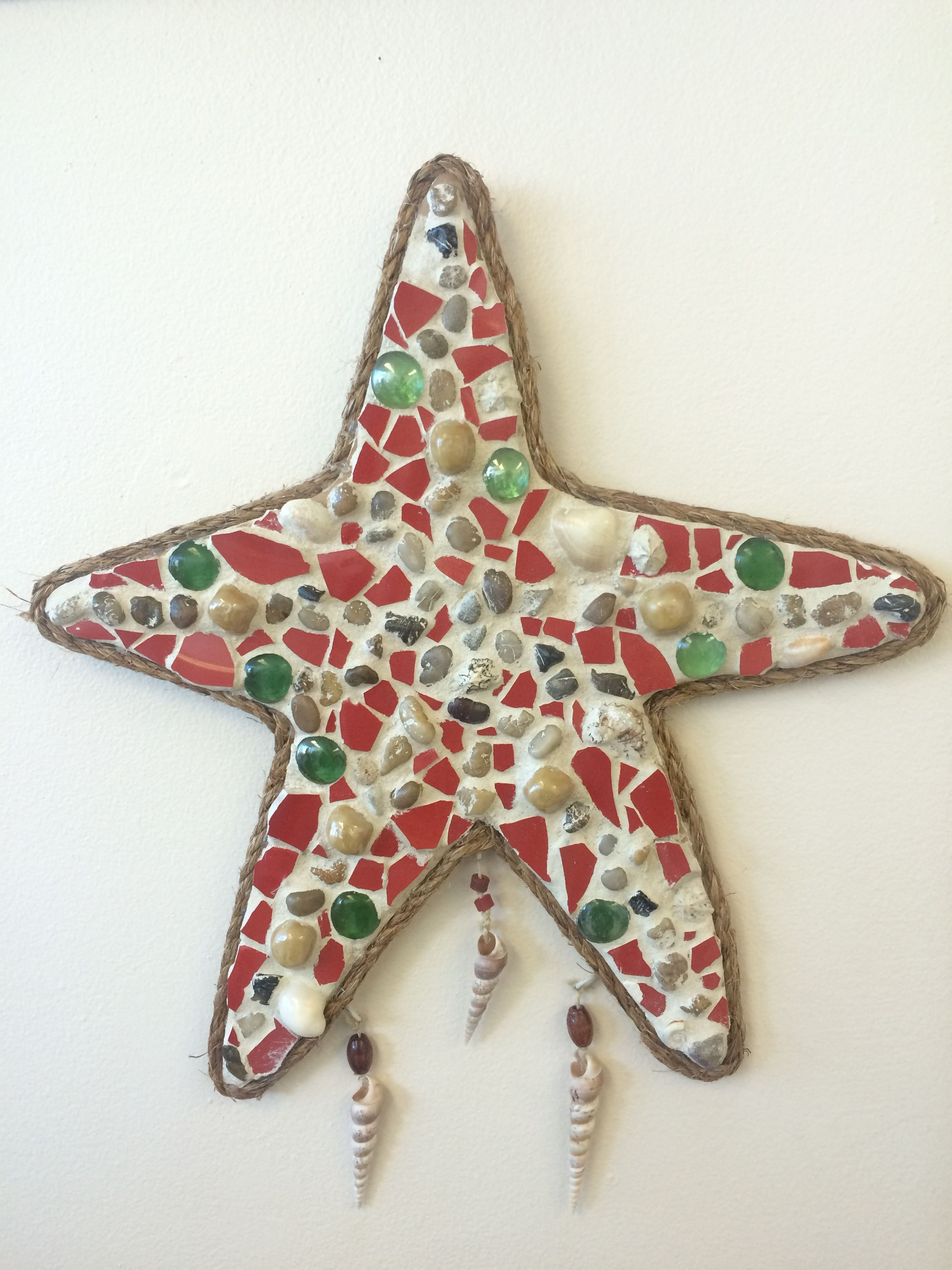 Creative starfish mosaic handcrafted by adults with