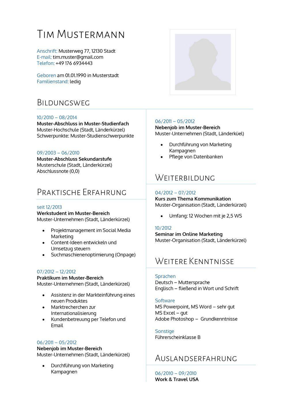 Lebenslauf Muster 14 - Lebenslauf Designs | Lebenslauf & Bewerbung ...