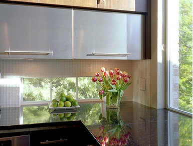 Backsplash Kitchen Window Instead Of Replacing Your Upper Kitchen Cabinets With Windows Consider Adding Upper Kitchen Cabinets Kitchen Kitchen Counter Cabinet