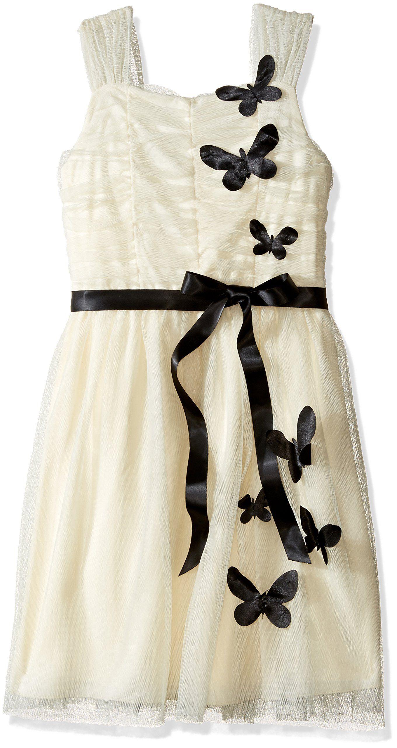 Emerald sundae big girlsu d butterfly whiteblack dress ivory