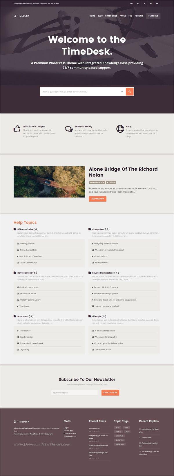 TimeDesk - Responsive Knowledge Base FAQ WordPress Theme | Cleanses ...