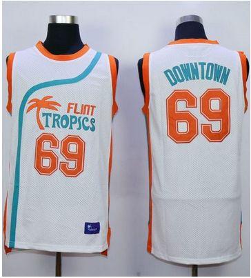 Flint Tropics #69 Downtown White Semi-Pro Movie Stitched Basketball Jersey