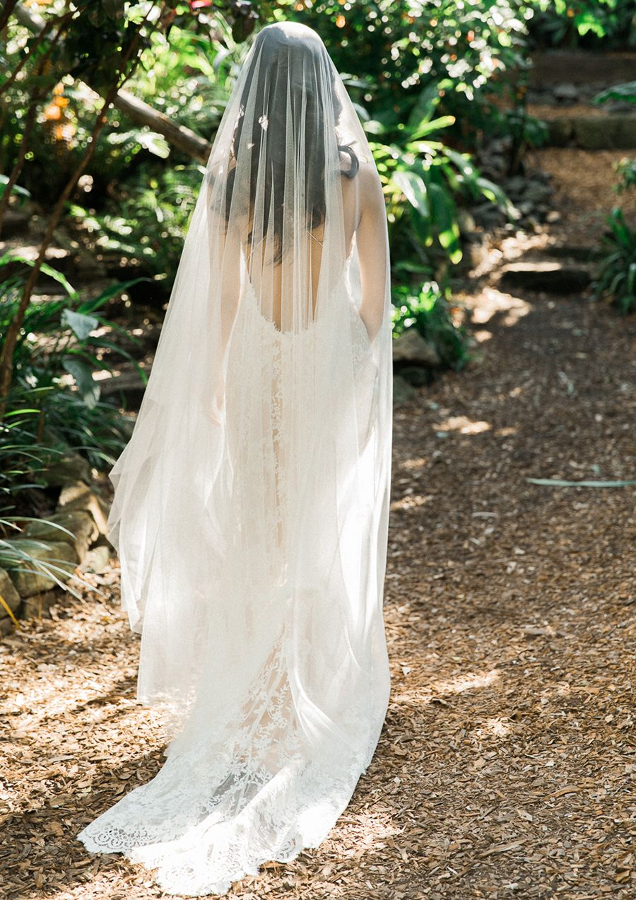 Soft Tulle Chapel Bridal Veil For Dreamy Portraits Portrait Of A Barefoot Bride