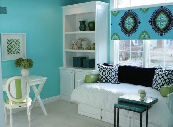 teenager zimmer m dchen ideen wei gr n hellblau zuhause pinterest. Black Bedroom Furniture Sets. Home Design Ideas