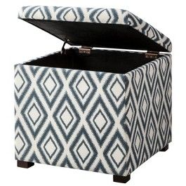 Threshold Rectangular Single Storage Ottoman Blue Diamond Ikat Storage Ottoman Tufted Storage Ottoman Ottoman