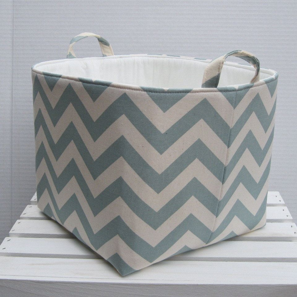 Fabric Organizer Bin Toy Storage Container Basket Village Blue Natural Chevron New Design 10 X 10 X 10 Fabric Storage Bins Organize Fabric Toy Storage
