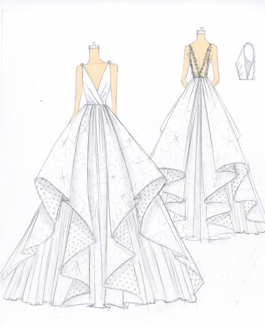 Tiered Sketch Wedding Dress Drawings Fashion Illustration Dresses Dress Design Drawing