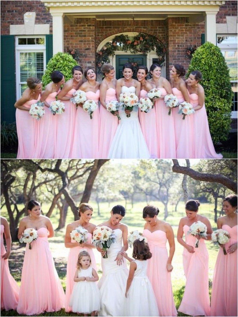 Long pink sweetheart chiffon wedding party dresses bridesmaid