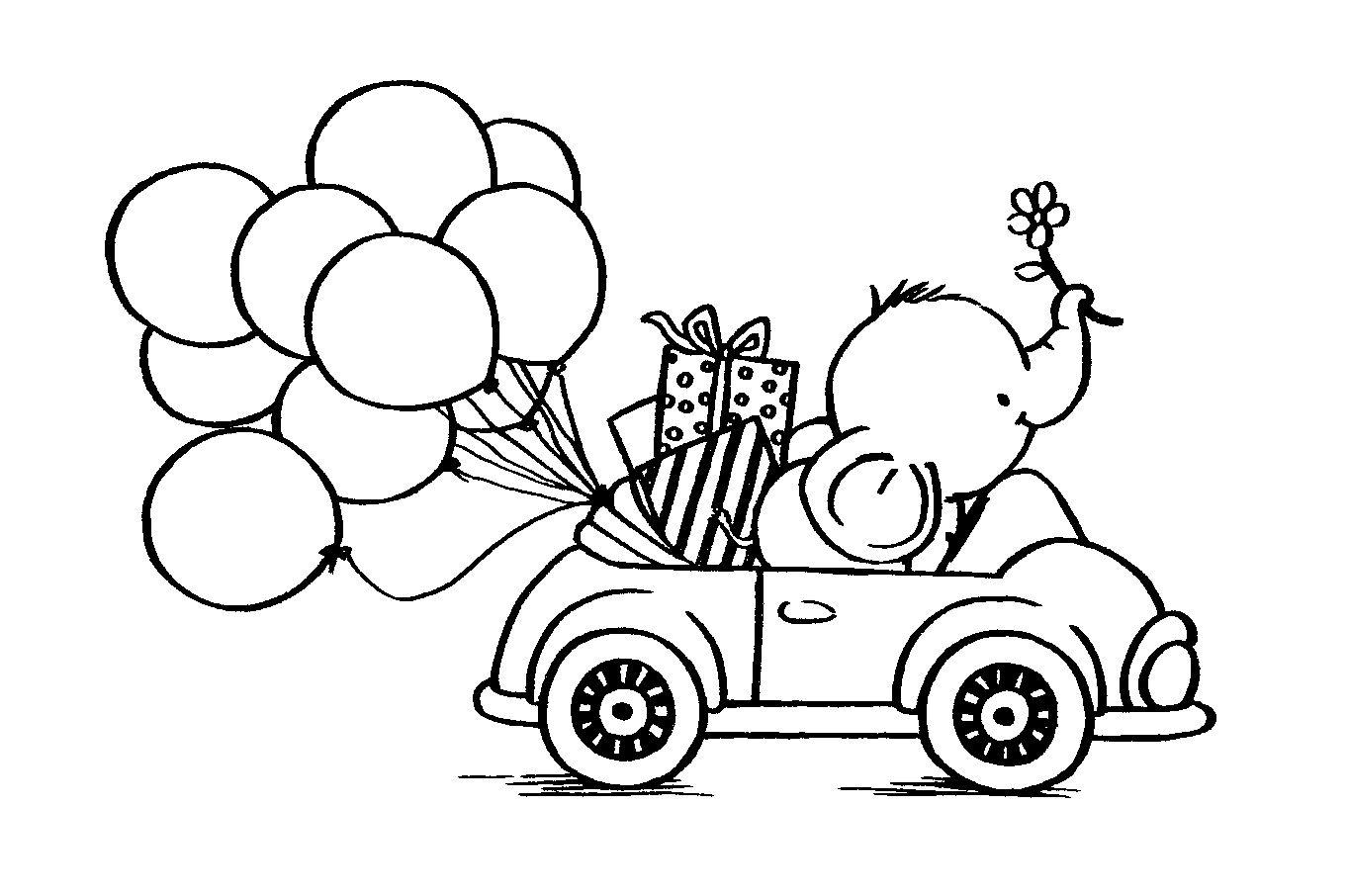 elefant im auto  ausmalbilder malvorlagen und stempeln