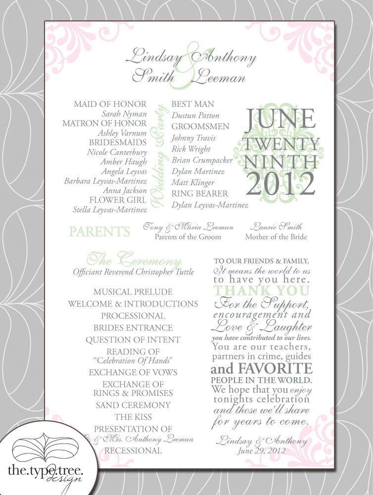 Love t! Shabby Chic Wedding Program Customizable PDF File