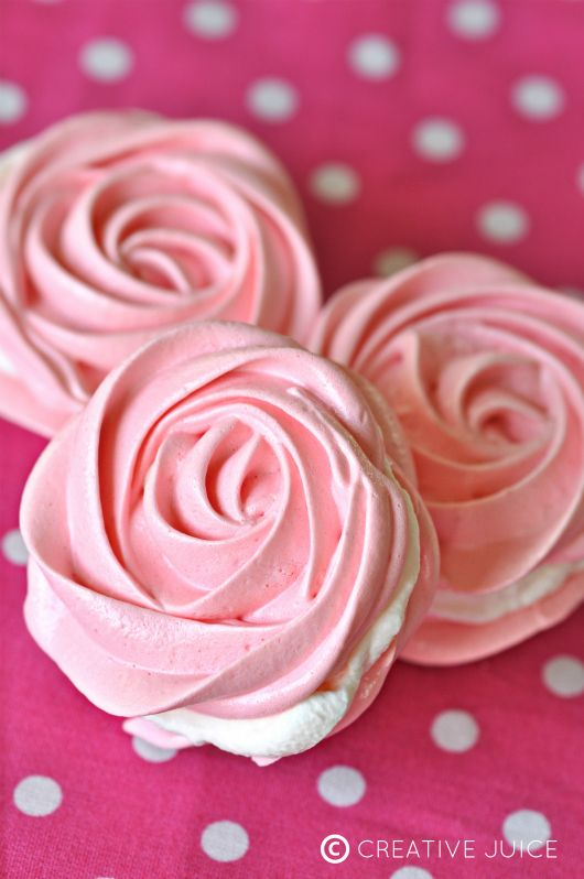 RECIPE and TUTORIAL - how to make raspberry rose meringues filled with lemon whipped cream!