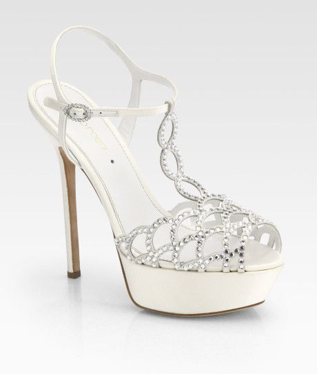 Sergio Rossi Bridal Crystalcoated Satin Tstrap Sandals
