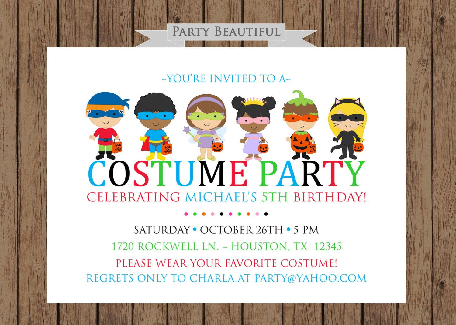 Costume Party Birthday InvitationBoys Halloween by PartyBeautiful ...