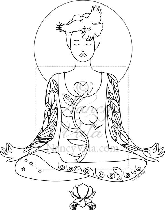COLOR YOUR YOGA Coloring Book Yoga Poses Tattoo Yogis By NancyVala