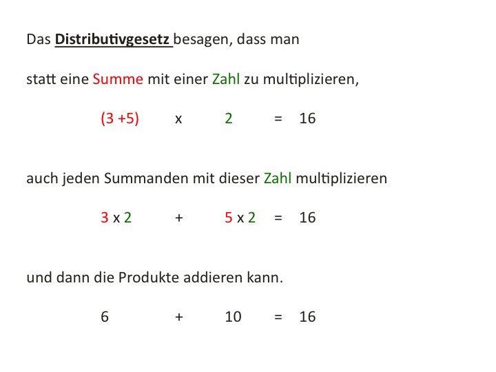 Rechengesetze: Kommutativgesetz, Assoziativgesetz, Distributivgesetz ...