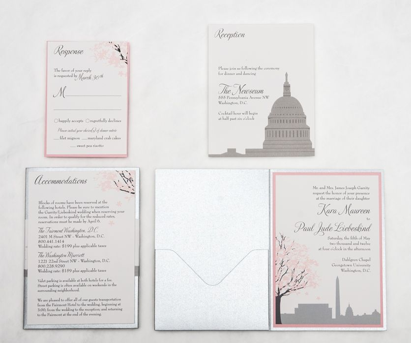 Custom Washington Dc City Themed Wedding Invitations Response Cards Reception And Accommodation