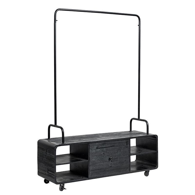 garderobe schuhschrank holz eisen schwarz von nordal. Black Bedroom Furniture Sets. Home Design Ideas