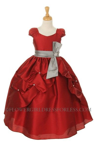 53553c82c83 KK 2044R - Girls Dress Style 2044 - RED DRESS with SILVER SASH - Red - Flower  Girl Dress For Less