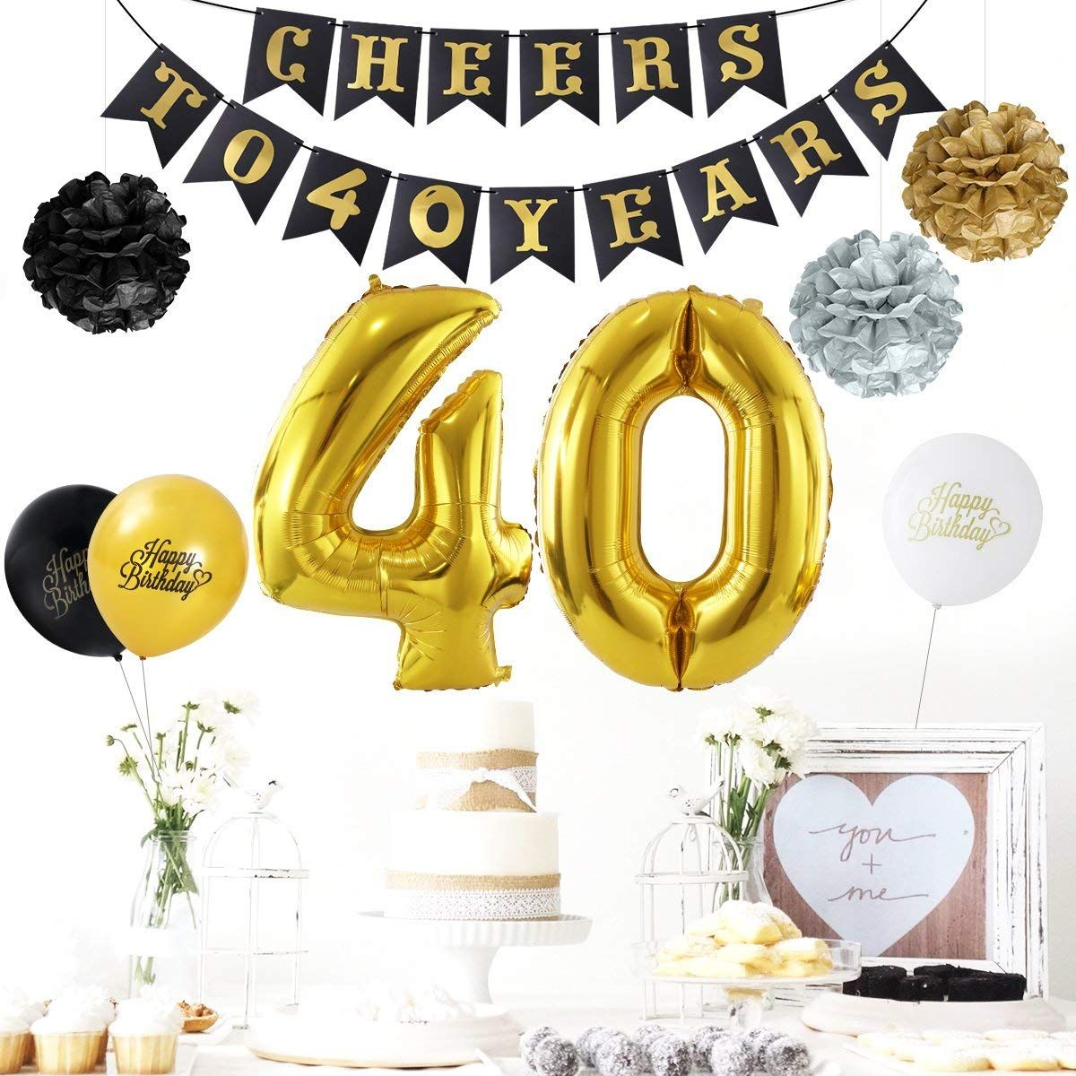 Amazon Unomor 40th Birthday Decorations Party Supplies Balloons