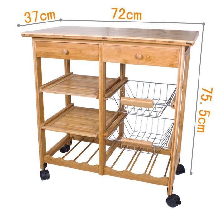 Carro carito de cocina mesa auxiliar almac n m vil con for Carrito de cocina con ruedas