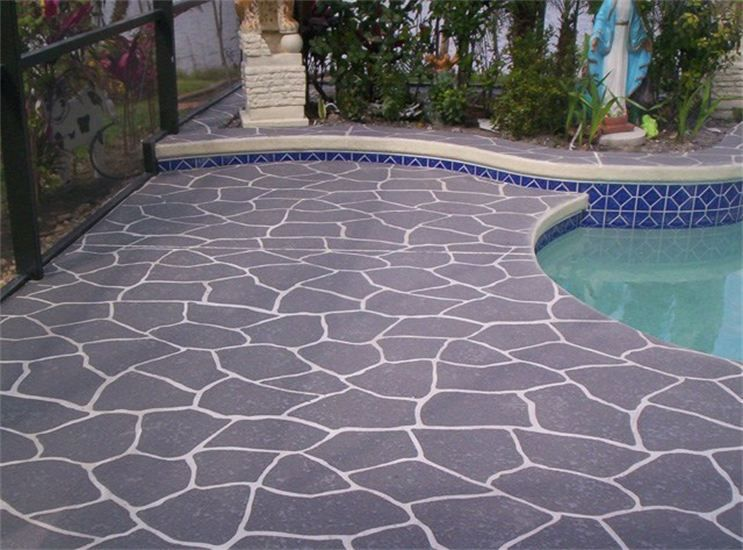 Pool Deck Flagstone Concrete Overlay   Knoxville TN