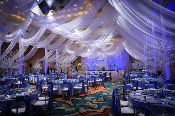 Pin By Joan Sagun On Ceiling Swags Draping Blue Wedding Decorations Wedding Hall Decorations Blue Wedding Receptions