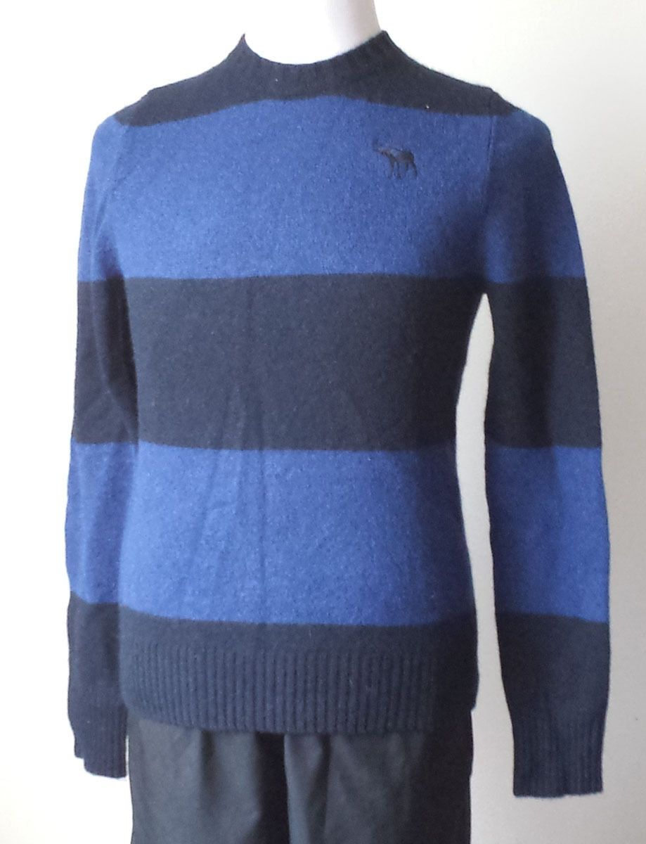 Abercrombie&Fitch men wool sweater size M slim fit blue with black ...