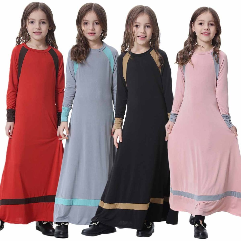 Muslim girls maxi dress for kids long sleeve holiday abaya islamic