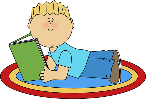 Boy Reading Clip Art | Boy Reading Clip Art Image - boy stretched out on a rug reading a book ...
